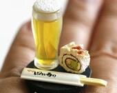 Kawaii Japanese Ring - Beer and California Roll Sushi