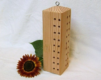 Wood BEE HOUSE, Obelisk Style (72 holes). Hand Made, Ready to Ship