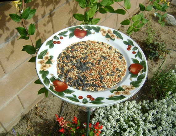 Plate BIRD FEEDER, Apples and Flowers- Recycled. Use with Bread, Nuts, Bagels, Fruit, Wild Bird Seed Mix. Ready to Ship