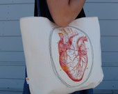 Anatomical Heart Lined Tote Bag