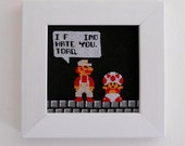 """Mario and Toad """"I Fing hate you, Toad"""" Cross stitch framed picture -SALE-"""