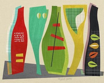 the vessels - mid century design art print