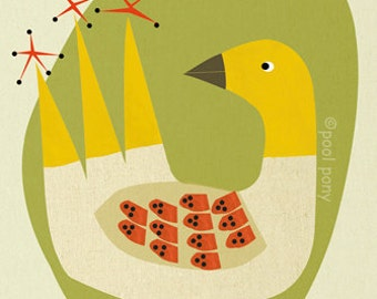 mid century inspired, art print, happy bird, MEDIUM