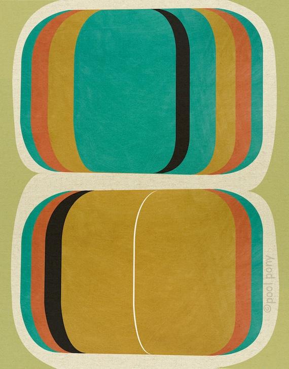 Mid-century design art print, Go Set, LARGE A3-plus size