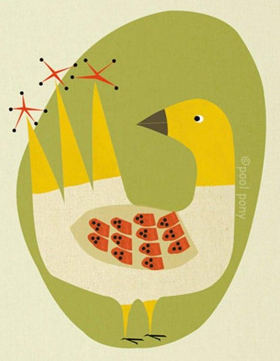 mid century inspired, art print, happy bird. LARGE A3-plus size