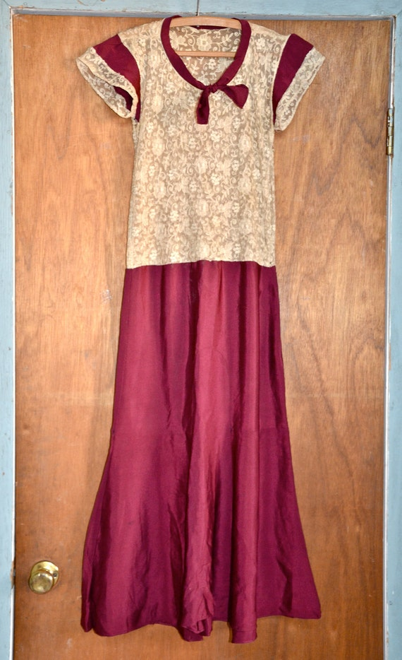 Vintage Women's Maroon and Floral Lace Edwardian 1920's Dress Small- XS