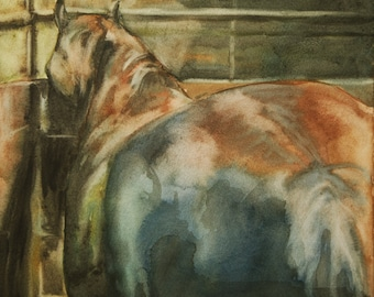 Horse At Rest 4 Original Watercolor Painting