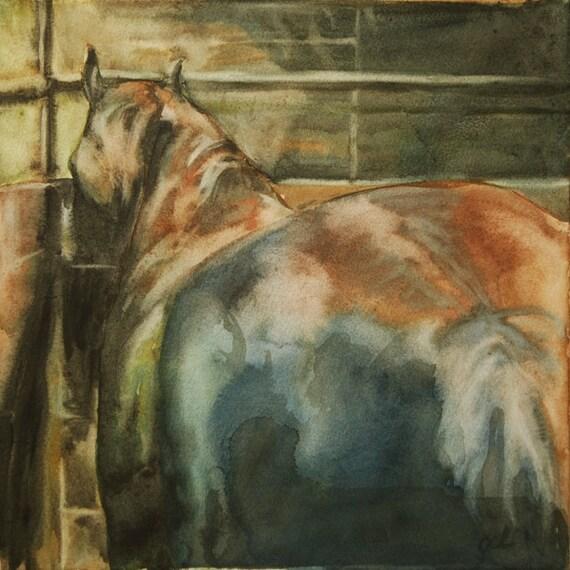 Horse At Rest 4 Original Watercolor Painting