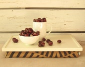 Laptop Lap Desk or Breakfast serving Tray - Off White with Brown Natural - Custom Order