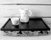 Lap Desk - Bed Serving Tray- Black and White Paisley Print