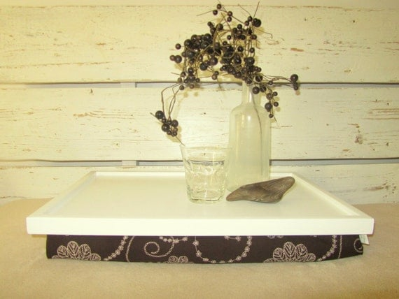 Laptop Lap Desk or Breakfast serving Tray - Off White with Brown - Custom Order