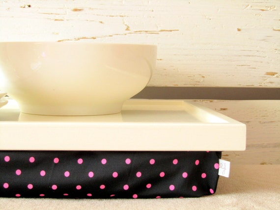 Polka Dots Laptop Lap Desk or Breakfast serving Tray - Off White with Black and Pink Dotty- Custom Order