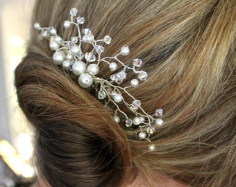 Swarovksi crystal and pearl bridal hair piece