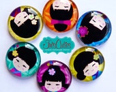 Japanese Kokeshi Face Dolls  - Set of Six Magnets - 1 inch Glass Dome Circles