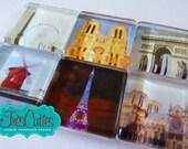 Souvenir of Paris - Set of Six Magnets - 1 inch Glass Squares