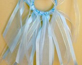 Tutu ponytail holder clip baby blue ribbon girls hair accessory