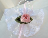 Flower girl hair accessories Baby girl Wedding hair bow clip pink rose white lace childs barrette