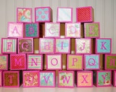 Children's Alphabet Building Blocks / Wooden Building Blocks - Pink Shabby Chic Theme - Set of 30 Blocks