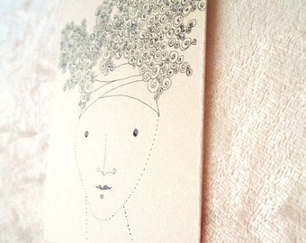OOAK ACEO/ATC original painting  minimal style   ink drawing on paper