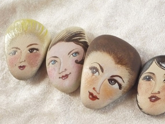 4 Painted stones. Made to order. Beach stone art .Original art work, figurative art, girl portrait ooak ,pebble art