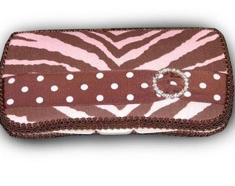 Pink and Brown Zebra Travel Diaper Wipes Case