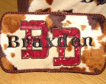 Adorable Cowboy Inspired Cow and Bandana Diaper Wipes Case
