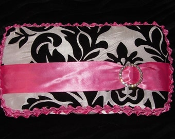 Gorgeous Black and White Damask Travel Diaper Wipes Case