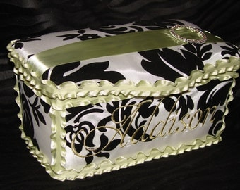 Gorgeous Sage and Damask Large Diaper Wipes Tub