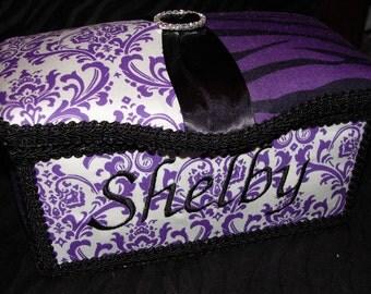 Gorgeous Purple Zebra and Damask Diaper Wipes Tub