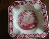 Antique Masons Vista Red Pink TransferWare Toile Ashtray