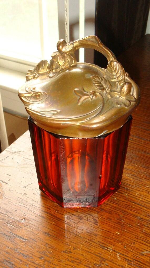 Antique Victorian Art Nouveau Amber Glass Storage or Powder Jar
