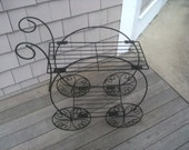 Vintage Hollywood regency glam parisian flower cart stand