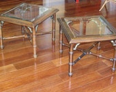 Pair of Vintage Lane Faux Bamboo End Tables with Brass Chinese Chippendale Details