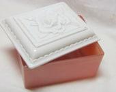 Vintage Glass Trinket/Jewelry Box Casket Pink White Milk Glass Rose Motif Rosie the Riveter