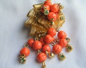 1950's Gold Mesh Pin Brooch Gift for Her Coral Gold Mad Men Holiday Fashion Jewlery Under 50