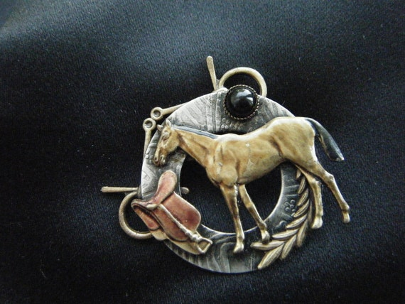 Vintage Horse Pin with English Style Apparel Cabochon Black Stone Gift for Her Valentine Horses Cowboys Rustic Southwestern