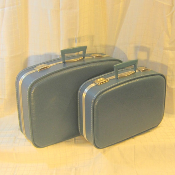 Matched Set Blue Cream Mid Century Luggage Suitcase Weekender Travel Storage Home Decor Wedding Honeymoon Spring Break