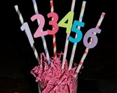 Paper Straws With Child's Age, Number, Pink and More Colors.....