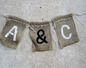 Just Married Burlap Banner Personalized Rustic Shabby Chic Vintage Antique  Photo Props Wedding Reception