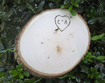 Personalized Large Wood Tree Slice Cake Stand Candle Stand Centerpiece Engraved Eco Friendly