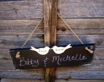 Two Love Birds Hanging Chalkboard Engagement Wedding Signs Photo Prop Elegant Indoor Outdoor Country Cottage Woodland Chic Farmhouse