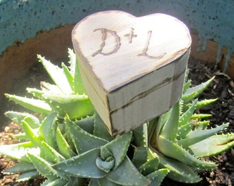 Personalized Custom Engraved Wood Heart  Ring Box Jewelry Holder Case Unique Ring Bearer Pillow Rustic Woodland Southern Shabby Vintage Chic
