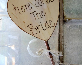 Here Comes The Bride Sign for Flower Girl or Ring Bearer Rustic Shabby Chic Outdoor Wedding Photo Prop Sign