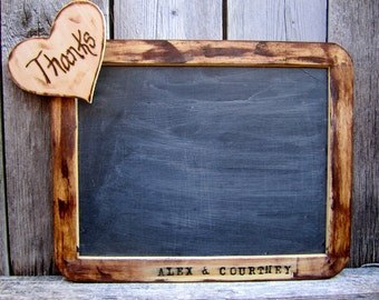 Chalkboard One Large Personalized Antique Distressed Vintage Rustic Shabby Chic Large 7x10 Framed Menu Message  Photo Prop Wedding Signs