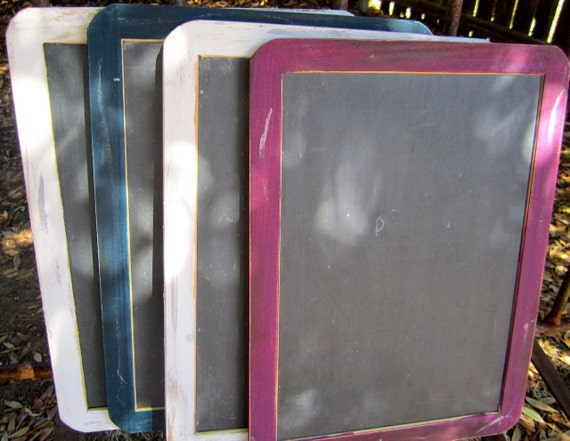 Set of Four Antique Distressed Vintage Rustic Shabby Chic Large 7x10 Framed Chalkboards Menu Message  Photo Prop Wedding Signs