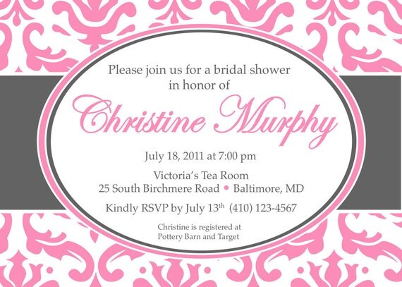 Printable Elegant Bridal Shower Invitations Pink and Grey Damask Design