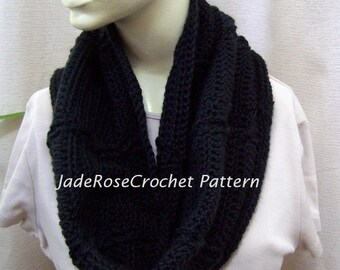 Crochet Cowl Pattern, Unisex Infinity Scarf Crochet Pattern, Crochet Hoodie Pattern  PDF200