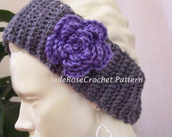 Crochet Headband Pattern, Headwrap Crochet Pattern, Flower Headband Crochet Pattern, Crochet Earwarmer Pattern, Ear Muffs Pattern, PDF203