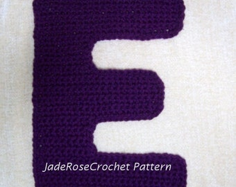 Crochet Letters Patterns E Appliques and 3D Decorative Accent Pillows in 5 Sizes