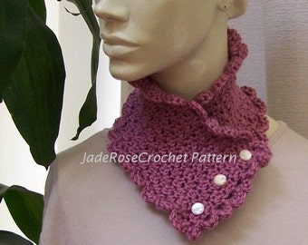 Crochet Scarf Pattern, Crochet Cowl Pattern, Crochet Neckwarmer Pattern, Two Buttoned Designs with Scallops for Her PDF201